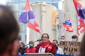 La présidente de l'OGBL, Nora Back, a apostrophé le monde politique dans son discours. ((Photo: Matic Zorman / Maison Moderne))