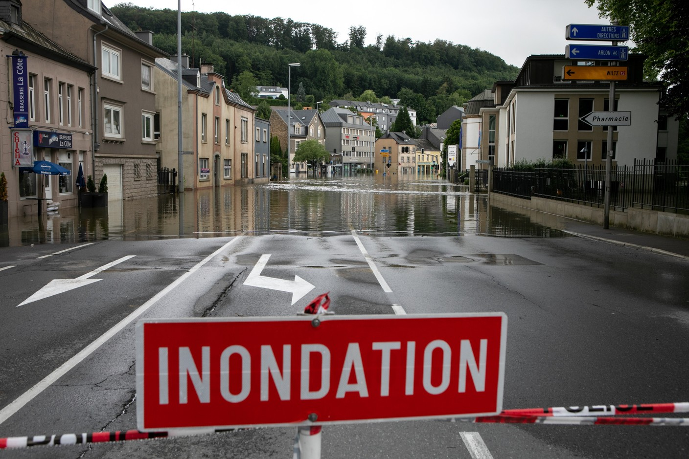 Floodwaters are seen in Luxembourg City's Eich district, 15 July 2021. Matic Zorman / Maison Moderne