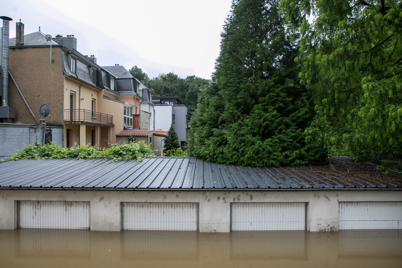 Floodwaters are seen in the capital's Weimerskirch district, 15 July 2021. Matic Zorman / Maison Moderne