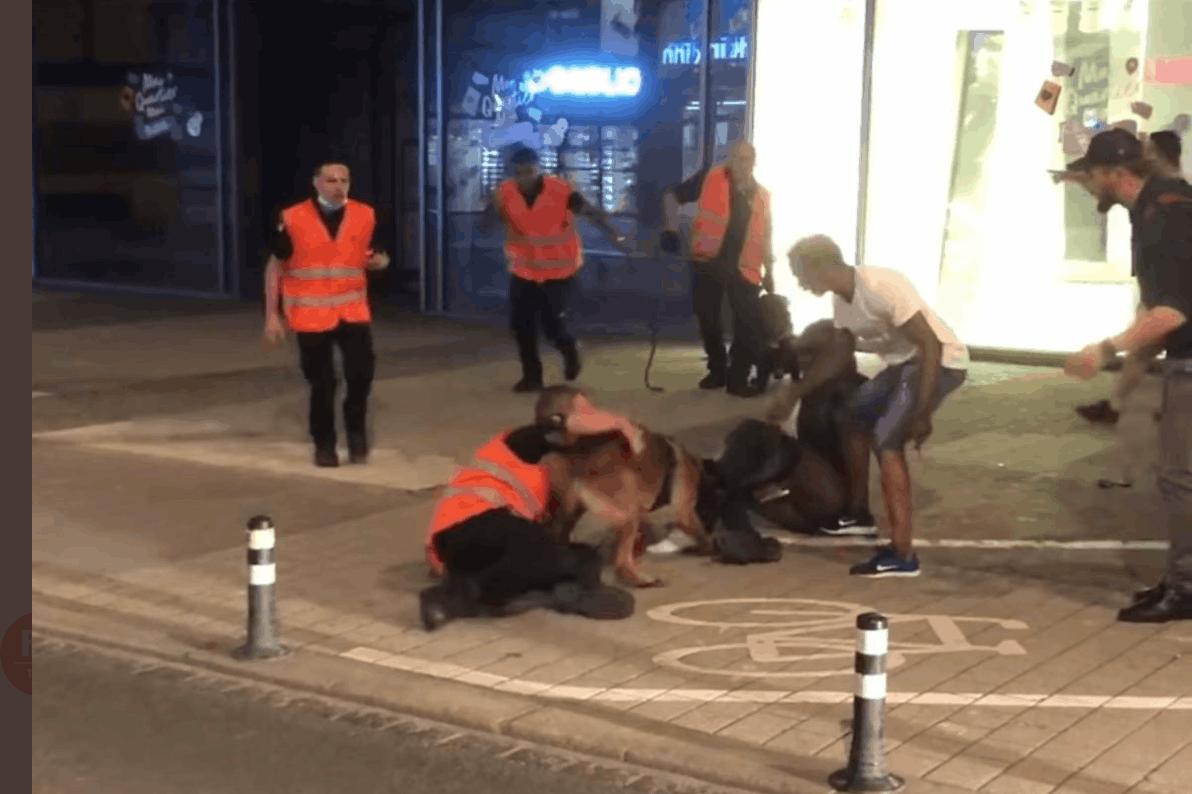 La scène au cours de laquelle le chien mord l'individu à la jambe a été largement relayée sur les réseaux sociaux. (Photo: Capture d'écran Twitter/Marc Goergen)