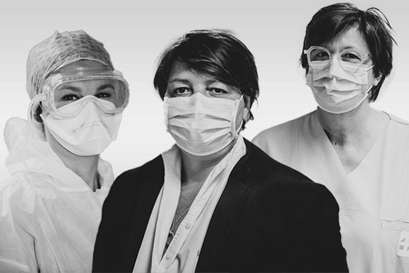 MarieSchweitzer, Marie-PierreLagarde et MoniqueBirkel figurent dans la poignante série de photos noir et blanc «Behind the Mask» prises par PaulFoguenne en hommage aux soignants du CHL en première ligne face au Covid-19. (Photos : Paul Foguenne / CHL)