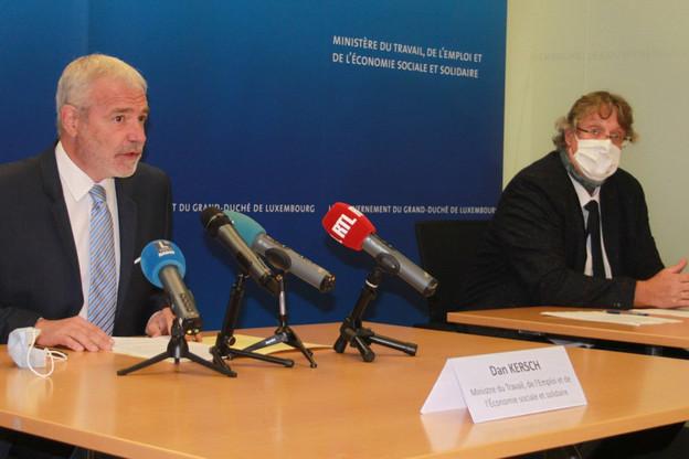 Le vice-Premier ministre, ministre du Travail, de l'Emploi et de l'Économie sociale et solidaire Dan Kersch (LSAP) a présenté le rapport annuel de l'ITM aux côtés de MarcoBoly, directeur de l'Inspection du travail et des mines. (Photo: MTEESS)