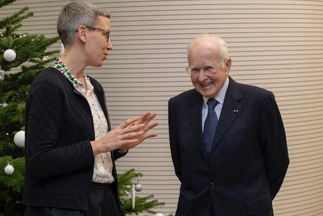 JacquesLoesch siégeait au conseil de plusieurs organisations, dont la Fondation Leir. Ici, en 2018, avec SamTanson, ministre de la Culture. (Photo : Eric Chenal / Archives / Maison Moderne)