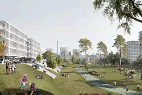 Le projet «Jardin de Luxembourg» conserve la mémoire du stade. (Illustration: 2001/HHF)