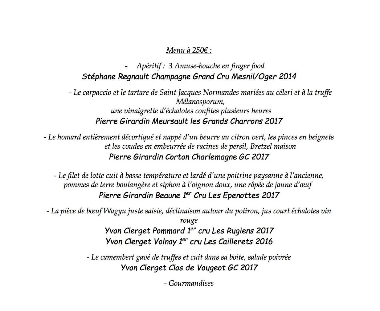 Un menu unique pour mettre en valeur les crus des jeunes viticulteurs bourguignons. (Crédit: Restaurant Clairefontaine)