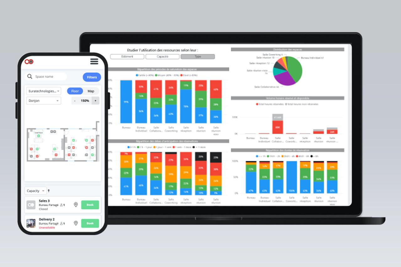 La nouvelle version de Jooxter permet de voir qui est au bureau ou pas, combien de places sont libres, et comment optimiser un mode de travail hybride. (Photo: Jooxter)
