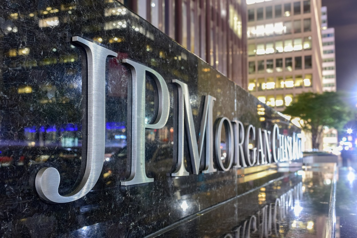 The corporate sign in front of the JP Morgan Chase & Co office building on Park Avenue in New York City. Shutterstock