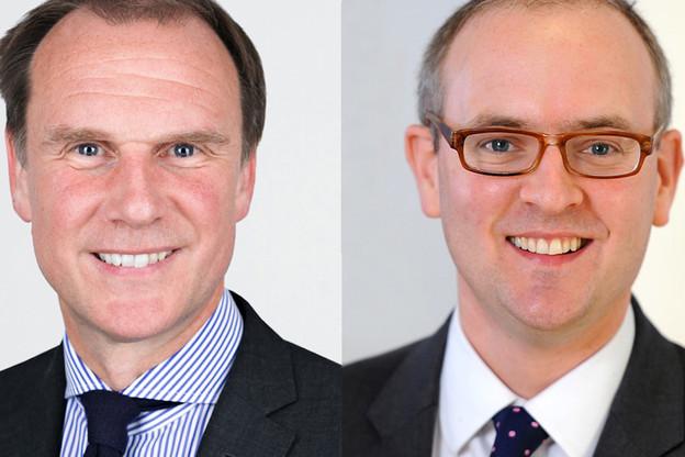 Alan Mathewson, CEO de Brown Shipley, a acté l'acquisition de NW Brown le 20 juin avec Oliver Phillips, le CEO de cette dernière.  (Photo: KBL ebp)