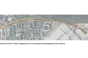 Les carrefours croisant le boulevard Pierre Frieden vont également être modifiés. ((Illustration: Fonds Kirchberg))