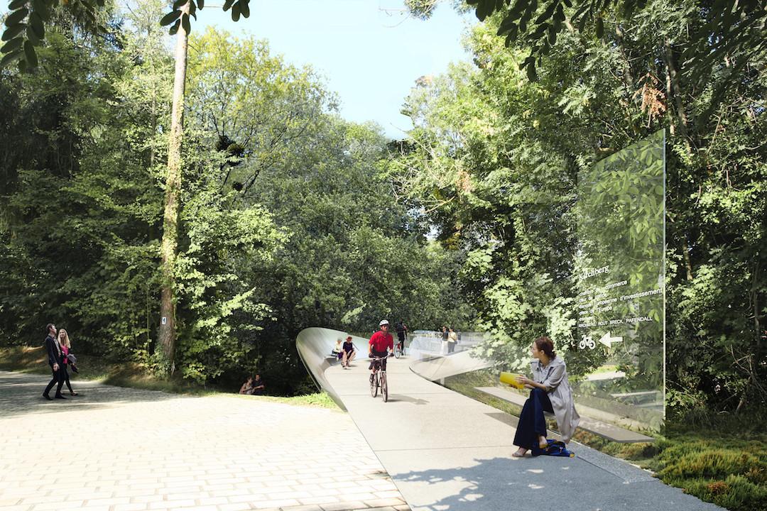Une nouvelle passerelle pour piétons et vélos reliera le Rout Bréck au Mudam. (Illustration: Mimram Ingénierie et Fabeck Architectes)