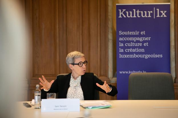 La ministre luxembourgeoise de la Culture, SamTanson, n'a pas tari d'enthousiasme en présentant les missions, les projets et les travaux déjà accomplis par Kultur lx et ses deux coordinatrices lors de sa présentation officielle, lundi matin. (Photo: Matic Zorman/Maison Moderne)