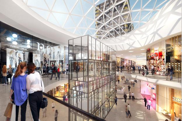 La galerie commerciale Cloche d'Or ouvrira en mai prochain avec de nouvelles enseignes pour le Luxembourg. (Illustration: Fabeck Architectes)