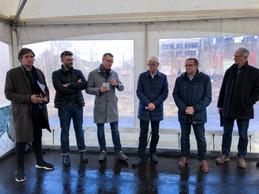 Sebastian Moreno (A2M), Antoine Crahay (CityTools), Éric Lux (Iko), Martin Kox (Ville d'Esch-sur-Alzette), André Zwally (Ville d'Esch-sur-Alzette) et Lucien Piovano (maire d'Audun-le-Tiche). ((Photo: Nader Ghavami))
