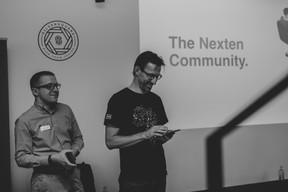 Speakers Steve Melan (left) and Nick Trogh before the talk (Caroline Lequeux)