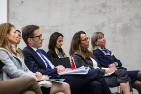 Fanny Mazeaud (Kleyr Grasso), Serge Marx (Elvinger Dessoy Marx), Martine Gerber-Lemaire (Dentons), Yasmine Poos et Lydie Polfer (Bourgmestre du Luxembourg) ((Photo: Caroline Martin))