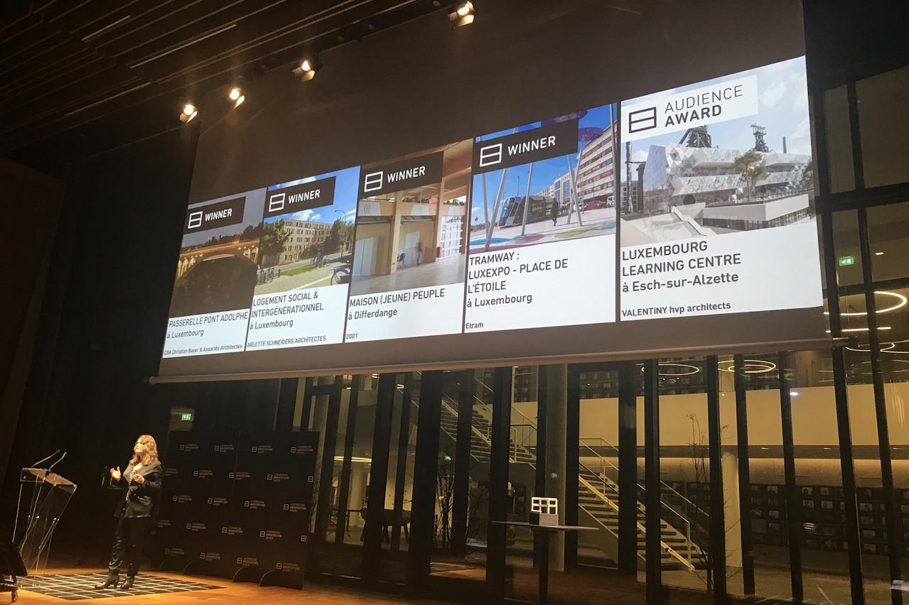 Les lauréats duLuxembourg Architecture Award2019 ont été dévoilés dans l'auditorium de la BNP-BGLParibas. (Photo: Paperjam)