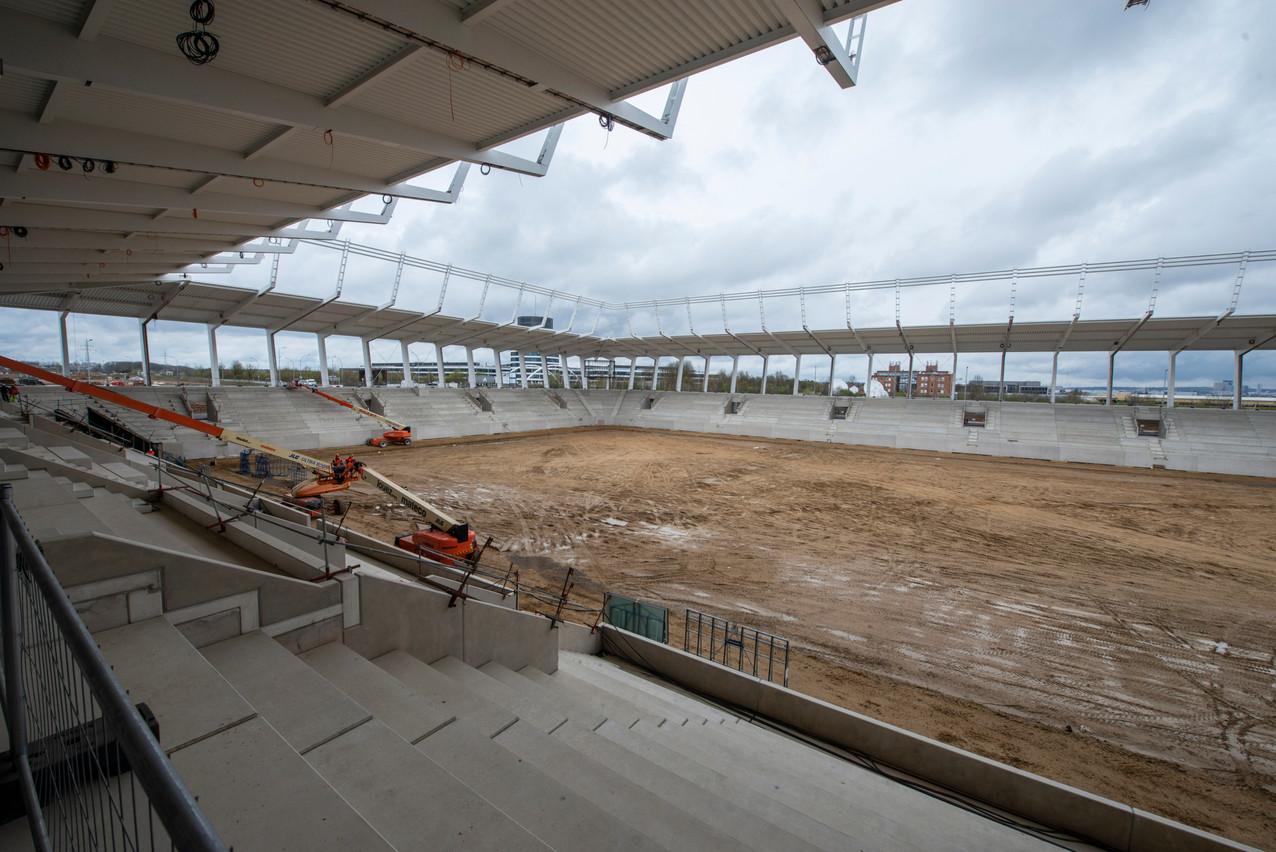 Le chantier du stade national est bien avancé. Anthony Dehez