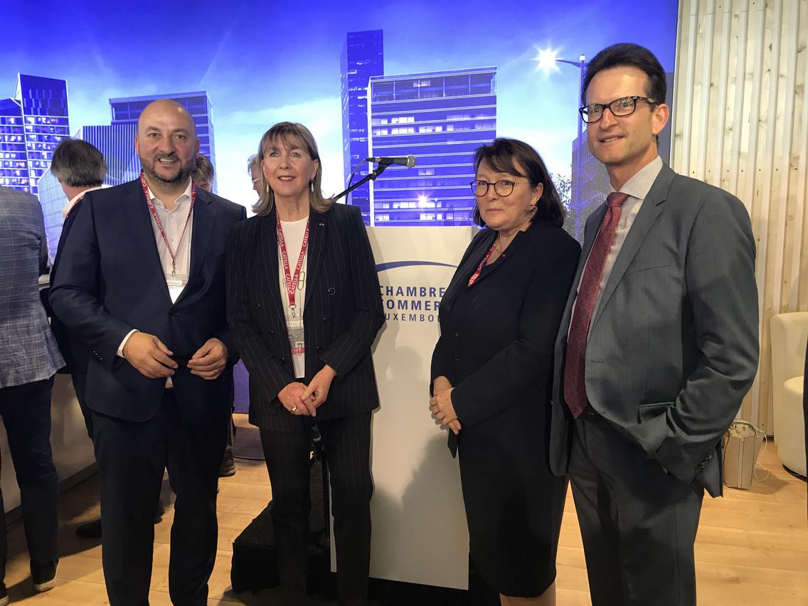 Étienne Schneider (vice-Premier ministre), Lydie Polfer (bourgmestre de la Ville de Luxembourg), Martine Schommer (ambassadrice du Luxembourg en France) et Carlo Thelen (directeur de la Chambre de commerce). (Photo: DR)