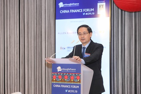 Ma Jun a fait l'état des lieux de l'avancée de la Chine en matière de finance durable, lors du China Finance Forum organisé par Luxembourg for Finance, le 8 octobre. (Photo: Luxembourg for Finance)