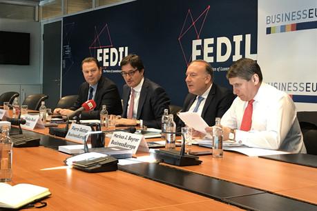 Pierre Gattaz et Markus Beyrer, respectivement président et directeur général de BusinessEurope, étaient aux côtés de Nicolas Buck et René Winkin, respectivement président et directeur de la Fedil. (Photo: Paperjam)
