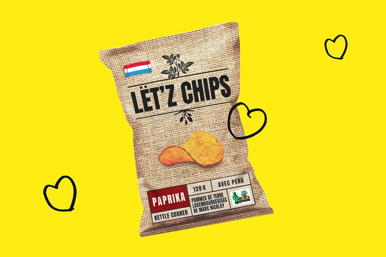 Faites à partir de pommes de terre cultivées au Luxembourg, les Lët'z Chips sont arrivées dans les rayons mardi 12 mai. (Design: Maison Moderne)