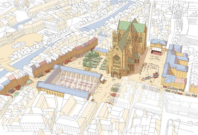 La toiture qui couvre l'actuel marché couvert et la piétonnisation du quartier de la cathédrale sont deux des projets de l'équipe de Richard Lioger. (Illustration: Richard Lioger)