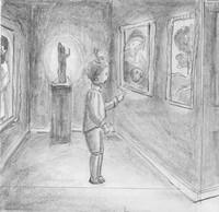 Croquis de préparation pour le livre«Mystères aux Musées». ((Illustration: Marie-Isabelle Callier pour l'association des Amis des musées))
