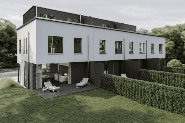 Onze maisons sont en construction dans le lotissement Riverside àBettange-sur-Mess. (Illustration: STDM/Tracol)