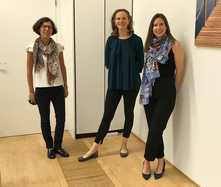 Nicoletta Centofanti, Claire de Boursetty and Maria Tapa, the trio in charge of the Luxembourg Sustainable Finance Initiative. Courtesy photo