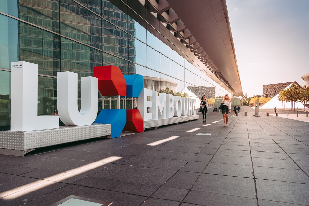 The Luxembourg nation branding logo pictured in Kirchberg Photo: Shutterstock