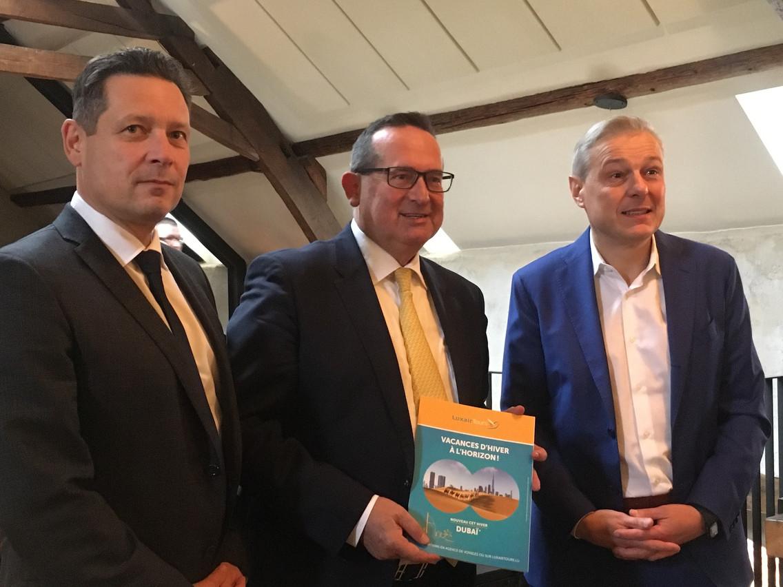 Pour la deuxième fois, LuxairGroup a livré un large tour d'horizon de ses activités, avec son directeur de LuxairCargo et Luxair Services Jean-Paul Gigleux, le directeur de LuxairTours Alberto Kunkel, et le directeur de Luxair Airlines Laurent Jossart. (Photo: Paperjam)