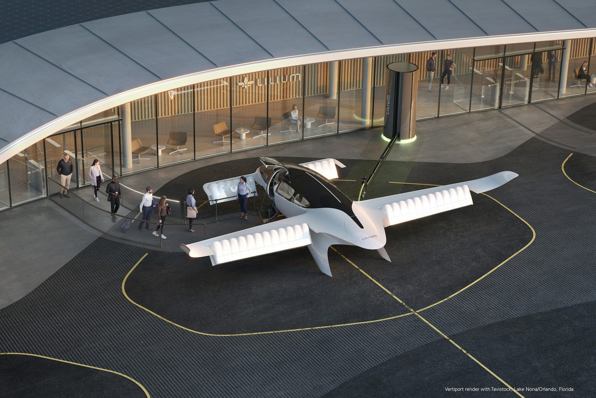 As early as 2024, the first seven passengers could board Lilium's vertical take-off electric jet. Probably from a German airport, the Munich-based start-up has already indicated. (Visual: Lilium)