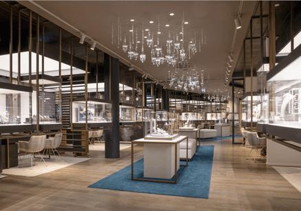 Le concept-store Windeshausen estagencé telle une rue commerçante, dans laquelle les clients progressent entre les corners de chaque marque. (Crédit: Maison Moderne)