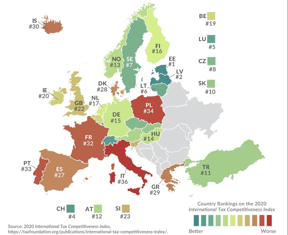 Les pays sont classés en ordre de compétitivité fiscale à l'international, du vert pour les meilleurs au rouge foncé pour la queue de classement. (Carte: Tax Foundation)