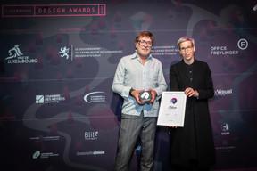 Christophe Peiffer (Georges) et Sam Tanson (Ministre de la Culture) ((Photo: Blitz Agency))