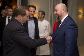 Dimitri Medvedev, Premier ministre de la fédération de Russie, Xavier Bettel, Premier ministre et Étienne Schneider, Vice-Premier ministre et ministre de l'Économie. ((Photo: SIP / Jean-Christophe Verhaegen))