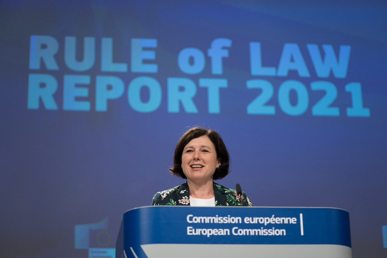 Vĕra Jourová,European Commission vice-president in charge of values and transparency presented the 2021 Rule of Law report in Brussels on Tuesday. EU/Christophe Licoppe
