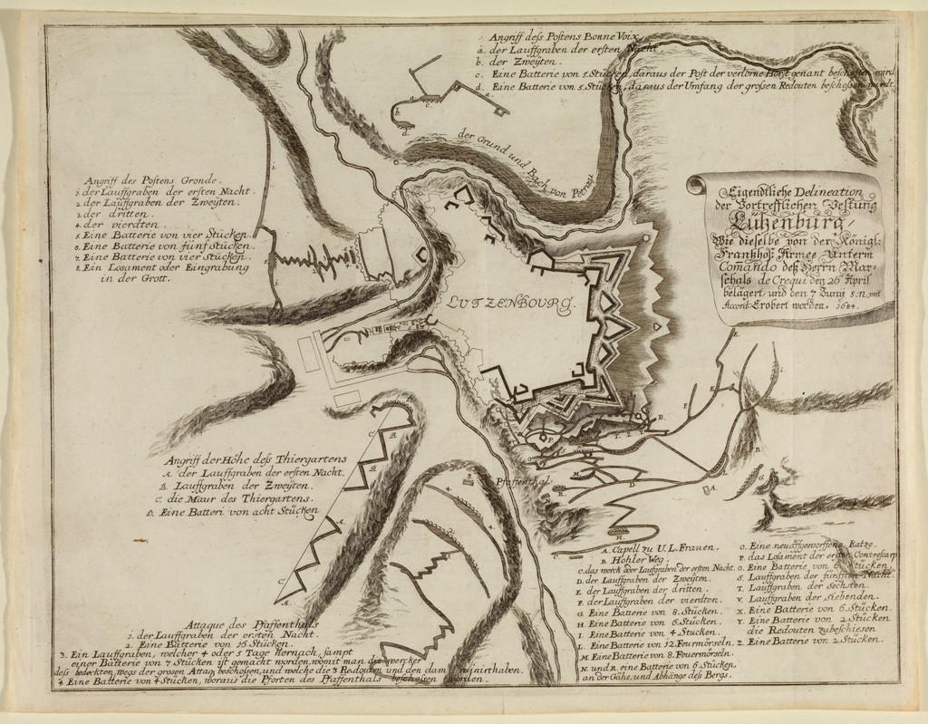 Plan des attaques de Luxembourg par Vauban, gravure, 1691, collection Lëtzebuerg City Museum. (Photo: Christof  Weber)