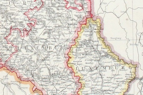 Les deux Luxembourg, extrait d'une carte, collection Lëtzebuerg City Museum. (Photo: Lëtzebuerg City Museum)