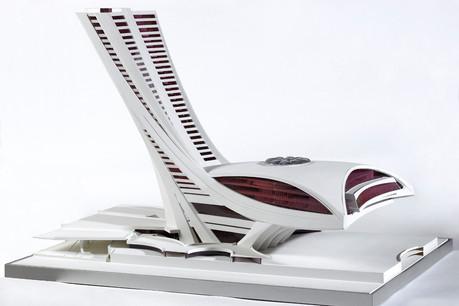 Projet (non réalisé) pour un Parlement européen au Kirchberg, architecte RogerTaillibert, 1977, Administration des bâtiments publics, dépôt au Lëtzebuerg City Museum. (Photo: Lëtzebuerg City Museum)