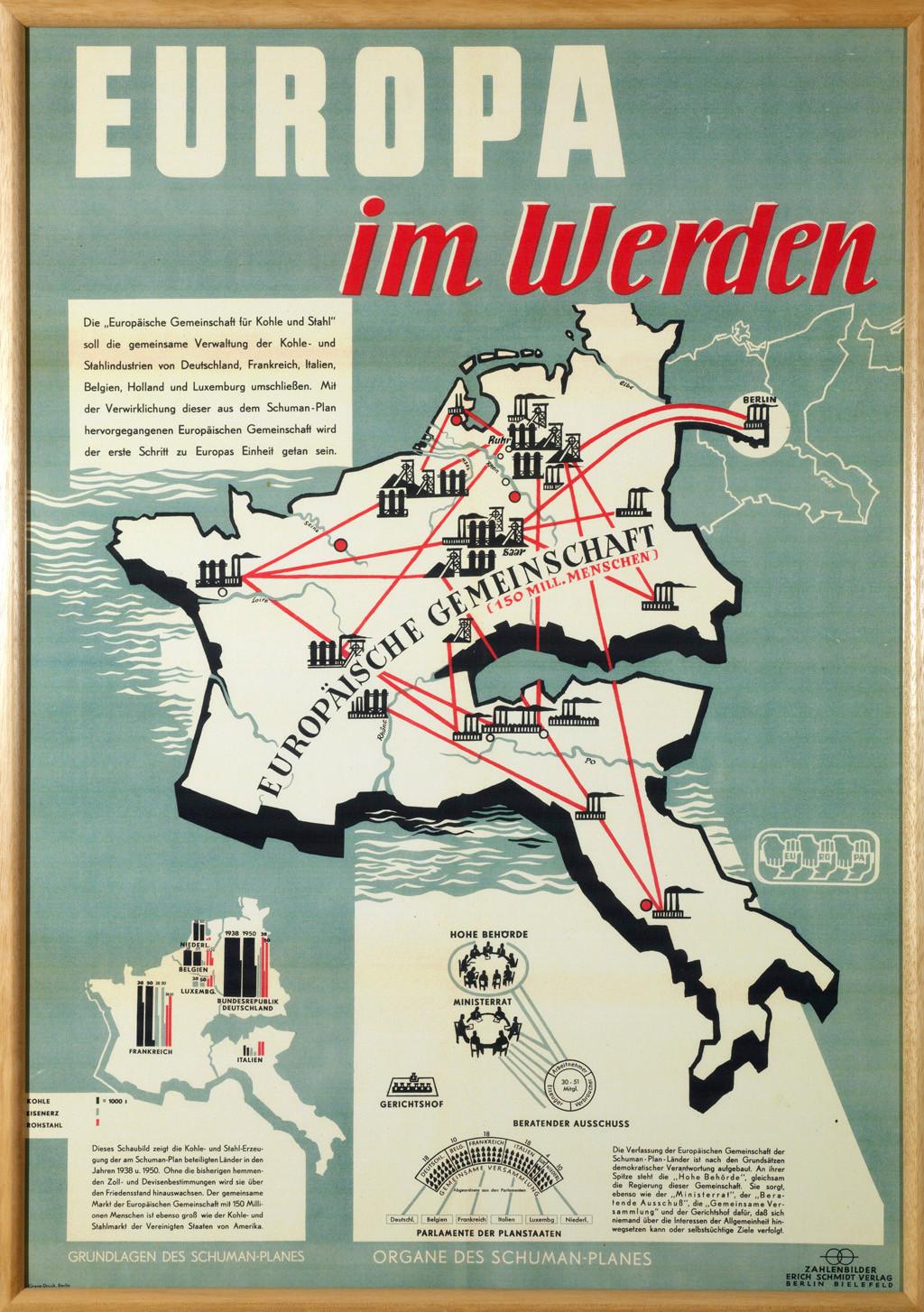 Affiche présentant le plan européen de RobertSchuman, 1951, collection Lëtzebuerg City Museum. (Photo: Christof Weber)