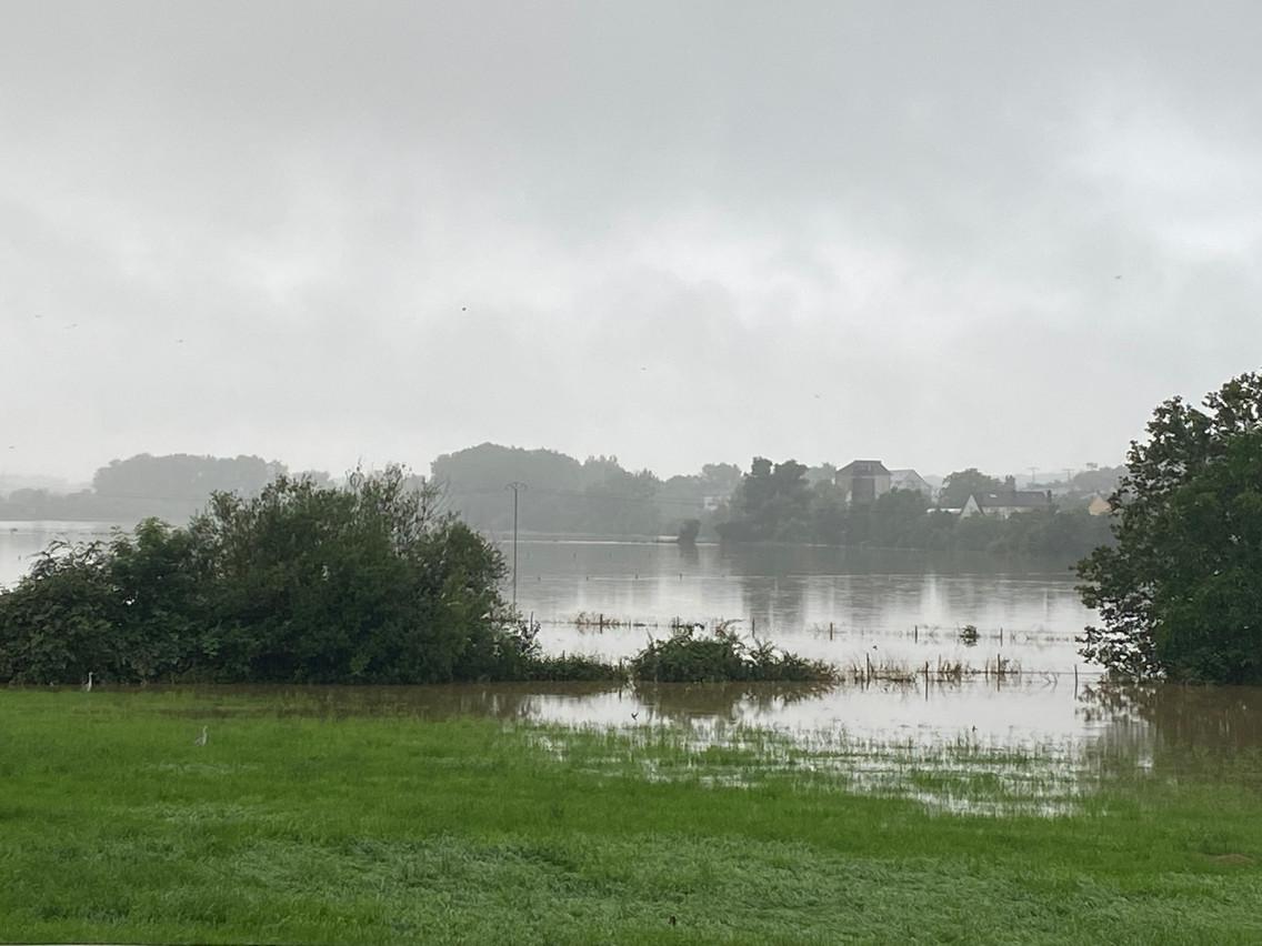 The Alzette burst its banks and flooded farmland in Alzingen, 15 July 2021. Delano