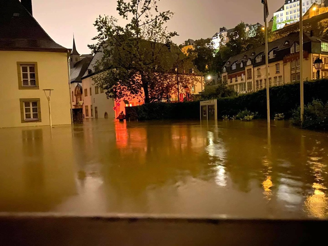 The entrance to Neimënster was completely underwater when the Alzette burst its banks, 15 July 2021. Neimënster Facebook page