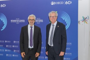 (from left to right) Pascal Saint-Amans, Director of the Centre for Tax Policy and Administration (CTPA); Pierre Gramegna, Minister of Finance SIP/LUC DEFLORENNE