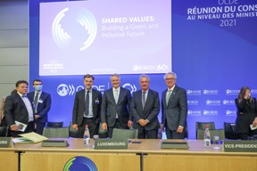 (l-r) n.c.; Franz Fayot, Minister for the Economy; Mathias Cormann, Secretary General of the Organisation for Economic Co-operation and Development (OECD); Jean Asselborn, Minister for Foreign and European Affairs; Pierre Gramegna, Minister for Finance SIP/LUC DEFLORENNE
