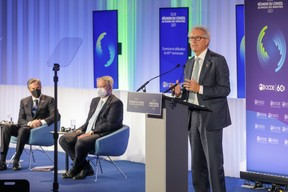 (L-R) Antony Blinken, Secretary of State of the United States of America and Chair of the Ministerial Council Meeting; Mathias Cormann, Secretary General of the Organisation for Economic Co-operation and Development (OECD); Pierre Gramegna, Minister of Finance SIP/LUC DEFLORENNE
