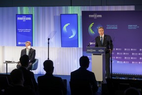(L-R) Mathias Cormann, Secretary General of the Organisation for Economic Co-operation and Development (OECD); Antony Blinken, Secretary of State of the United States of America and Chair of the Ministerial Council Meeting  SIP/LUC DEFLORENNE
