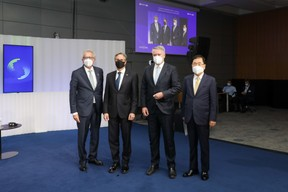 (L-R) Pierre Gramegna, Minister of Finance; Antony Blinken, Secretary of State of the United States of America and Chair of the Ministerial Council Meeting; Mathias Cormann, Secretary General of the Organisation for Economic Co-operation and Development (OECD); Chung Eui-yong, Deputy Prime Minister of the Republic of Korea SIP/LUC DEFLORENNE