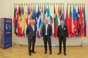 (from left to right) Pierre Gramegna, Minister of Finance; Mathias Cormann, Secretary General of the Organisation for Economic Co-operation and Development (OECD); Franz Fayot, Minister for the Economy SIP/LUC DEFLORENNE