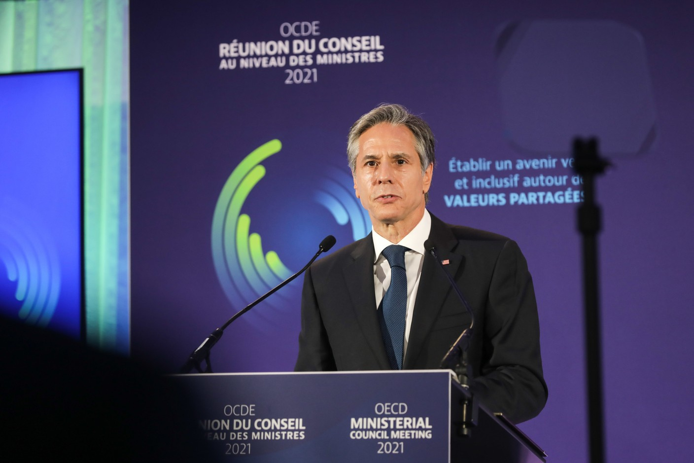 Antony Blinken, Secretary of State of the United States of America and chair of the ministerial-level council meeting SIP/LUC DEFLORENNE